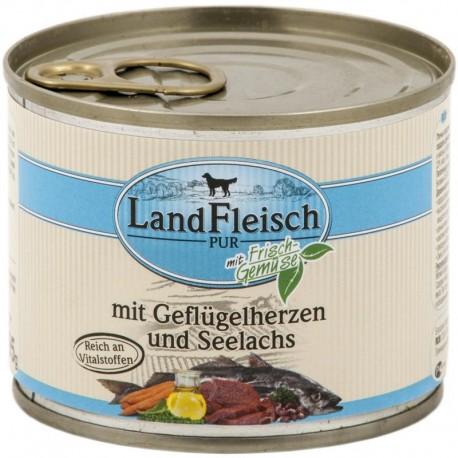 LandFleisch Pur - Kacsa- és csirkeszív tengeri lazaccal